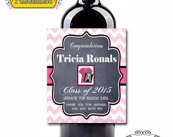Custom Wine Labels - Graduation Labels  and Announcement! (Personalized) Chalkboard Set of 6