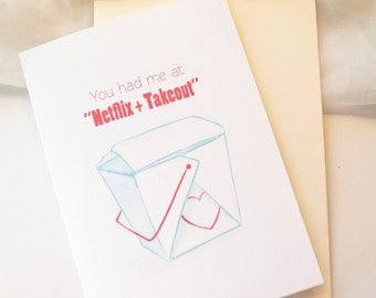 Netflix and Takeout- Modern Love Card- Funny Valentine- Greeting Card