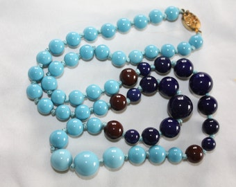 Vintage  Necklace Chinese Turquoise Glass, Sapphire Bead 1940s Jewelry