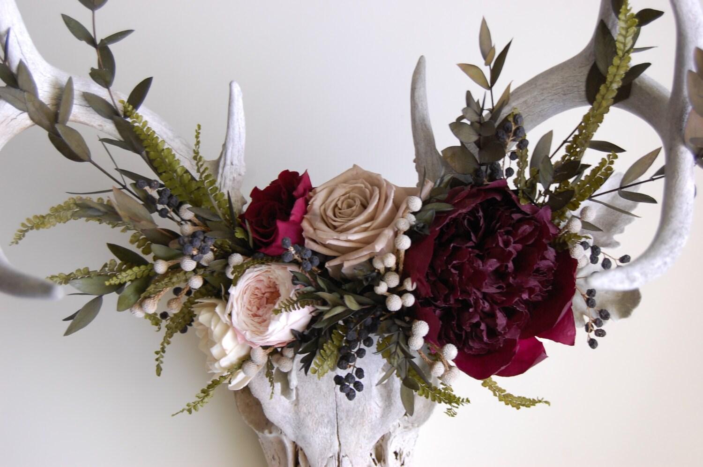 Deer Skull with Preserved Flower Crown