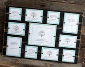 Collage Picture Frame - Distressed Wood - Holds 11 Photos - Various Sizes - Black & Sky Blue