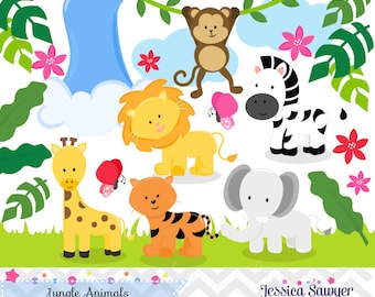 INSTANT DOWNLOAD,  jungle animal clip art for personal and commercial use