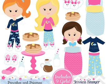 INSTANT DOWNLOAD,  pancakes and pjs clipart and vectors for pancakes and pajama party