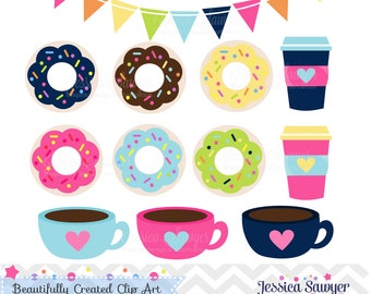 INSTANT DOWNLOAD - Coffee and Donut Clipart and Vectors for personal and commercial use