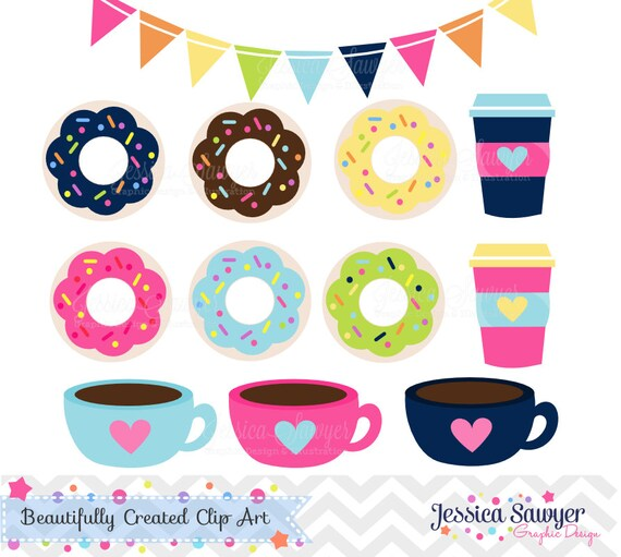 instant download coffee and donut clipart and vectors for personal