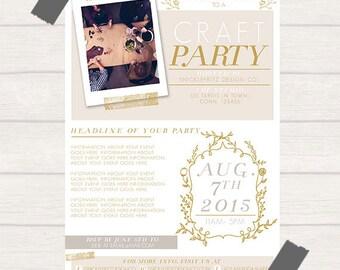 DIY Printable Event Flyer-Neutral 5x7- PSD File