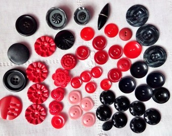 Vintage Button Lot Red and Black