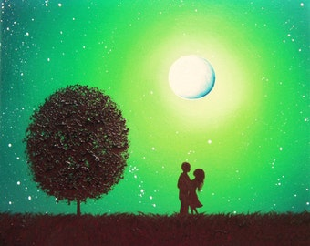 Romantic Couple Art Print, In Love Art, Whimsical Silhouette Art Print, Green Night Full Moon Art, Silhouette Couple Gift, 4x5, 8x10, 24x30