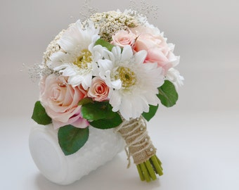 Wedding Bouquet - Pink Roses, Green Berries, Leaves, White Gerbera Daisies, Queen Anne's Lace, Babys Breath, Vintage, Cottage, Bride