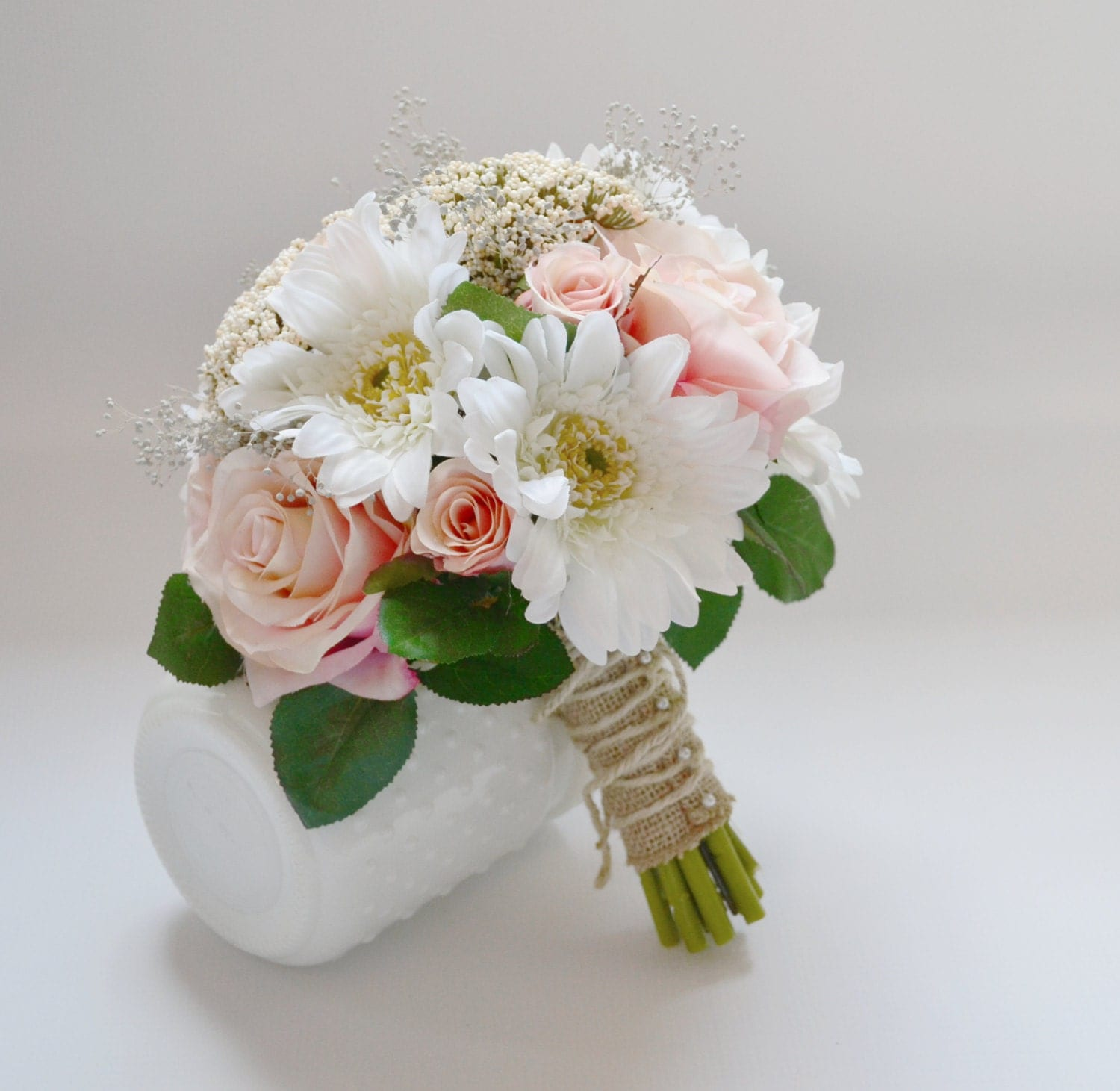 Wedding Bouquet Pink Roses Green Berries Leaves White