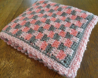 Crochet Baby Blanket Pink Gray Check Design Girl Crib Afghan