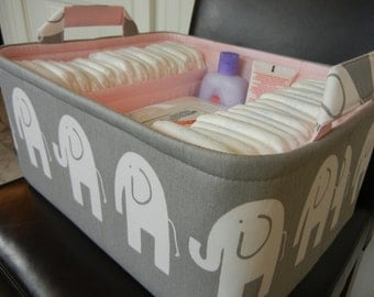 """Ex Large Diaper Caddy-14""""x 10""""x 7""""(CHOOSE Basket & Lining COLORS)Two Dividers-Baby Gift--Fabric Storage Organizer-""""White Ele on Grey"""""""