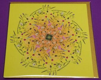 SUMMER SOLSTICE Greetings Card from the Wild Flower Mandala, Solar Festival Series