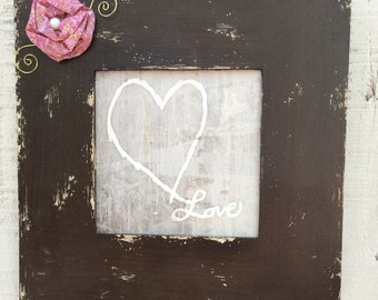 Espresso Chunky Square Framed Heart Painting - Embellished Frame