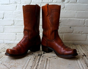 Vintage Motorcycle Boots Mens 11 1980s Outlaw Boots Whiskey Brown Leather Western Snub Nose Boots Hippie Biker Square Toe Pull Up Landis USA