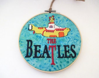 The Beatles Embroidered Bamboo Hoop Art 6""