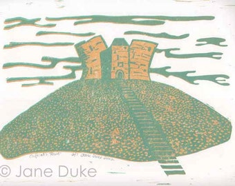 Clifford's Tower York linoprint limited edition unframed relief print green yellow ochre English castle