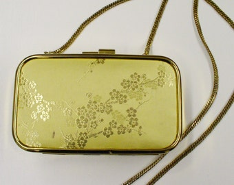 Vtg 90s Petite Gold Minaudiere with ASIAN FLORAL Satin and Dainty Chain!