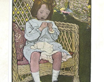 SALE 1905 Elizabeth Shippen Green Lithographed & Colored Book Illustration Matted Girl Learning To Sew  - THE MASTERPIECE