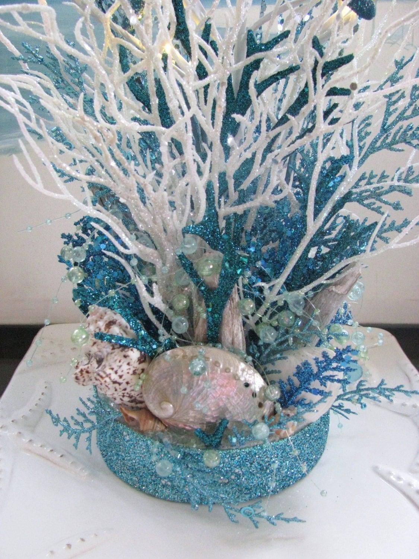 White And Blue Coral Beach Wedding Centerpiece Seashell Beach