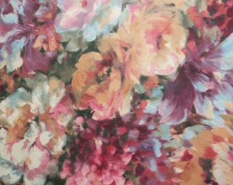 Art Brushstroke large repeat Floral Chiffon Woven fabric - Pink Blue Peach mauve - Ex Designer - Sold by the metre