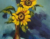 Sunflowers painting. Original oil painting with yellow flowers .Ready to ship.
