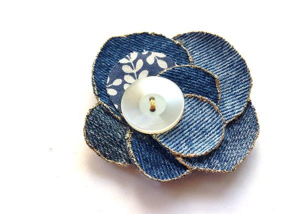Chic hair piece flower- blue diesel, levis denim rose, glitter, button, bobby pin, upcycling