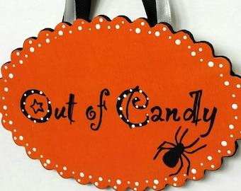 Hand painted Halloween sign, trick or treat, fall home yard decor, door hanger, wreath, halloween decor, rustic wooden