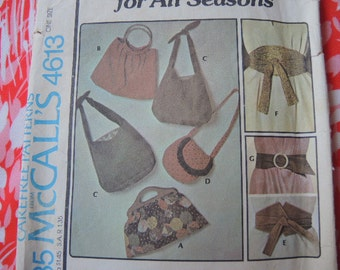 vintage 1970s McCalls sewing pattern 4613 accessories purses and belts