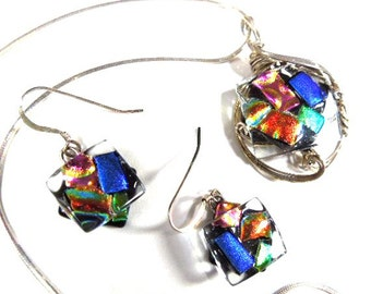 """Multi Color Fused Glass Necklace with matching Earrings, 16"""" silver chain, pierced earrings, wire-wrapped pendant, gift for woman, vintage"""