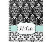 Black & White Damask Personalized Spiral Bound Journal   YOU choose your accent color   100 sheets   Lined or Plain Paper