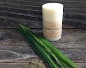 Lemongrass and Green Tea Small Pillar Soy Wax Candle Small Pillar White Candle Wedding Candle
