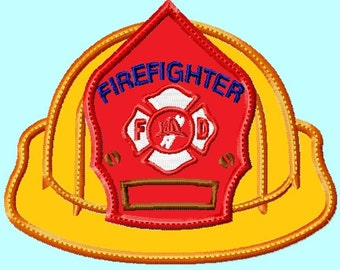 Firefighter Hat front APPLIQUE Embroidery Design (great for  hooded towels and blankets) 4 sizes INSTANT DOWNLOAD