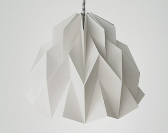 RUFFLE: Origami Paper Lamp Shade - Grey / FiberStore by Fiber Lab