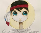 BLACK Hair blue eyed boy art with an indian  feather headdress - a whimsical ORIGINAL painting for a boy by LilliBean Designs FREE shipping