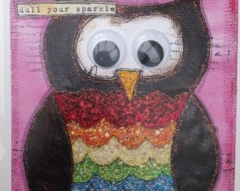 Rainbow owl Greetings card