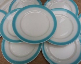 Rare Set of 9 Buffalo China Restaurant Ware Plate Set Gorgeous Turquoise Trim Homer Laughlin Restaurantware Dinner Plates