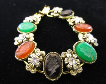 Colorful Glass Cabochons, Intaglio, Bracelet. Gold Tone with Rhinesones