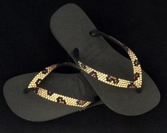 Havaianas Flip Flops Custom Gold Leopard Cheetah Jungle Animal print w/ Swarovski Crystal Bling flat or Cariris Wedge Heel Thong Beach Shoes