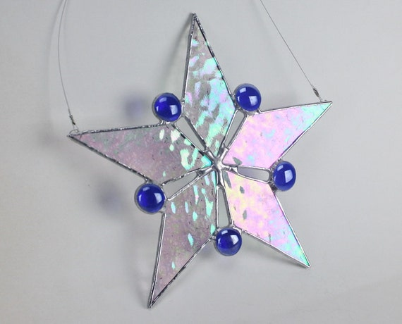 Stained Glass Iridescent Snowflake Star with Cobalt Blue Gems