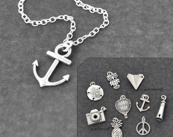 Silver Charm necklace, anchor, nautical, nautical jewelry, choose a charm, camera, pineapple, owl, peace, trip, sea, lighthouse, air ballon
