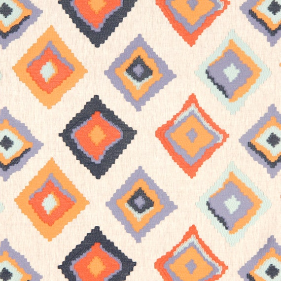 Orange Navy Blue Embroidered Geometric Linen Upholstery Fabric