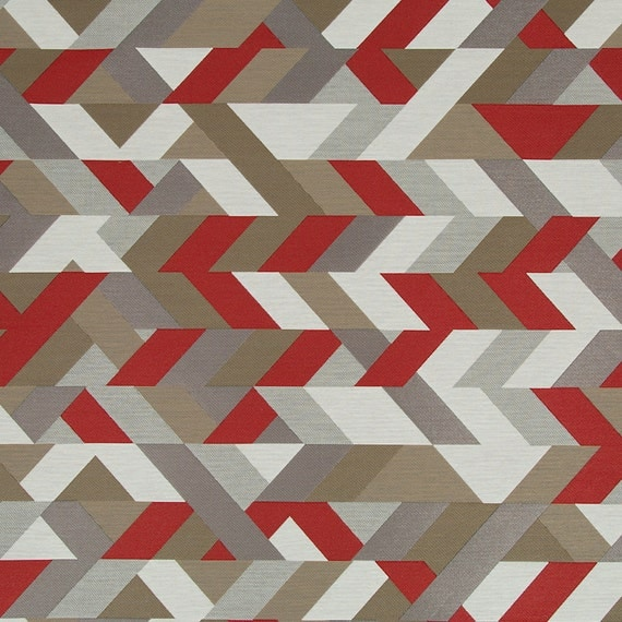 Red Grey Geometric Upholstery Fabric Modern Red Taupe
