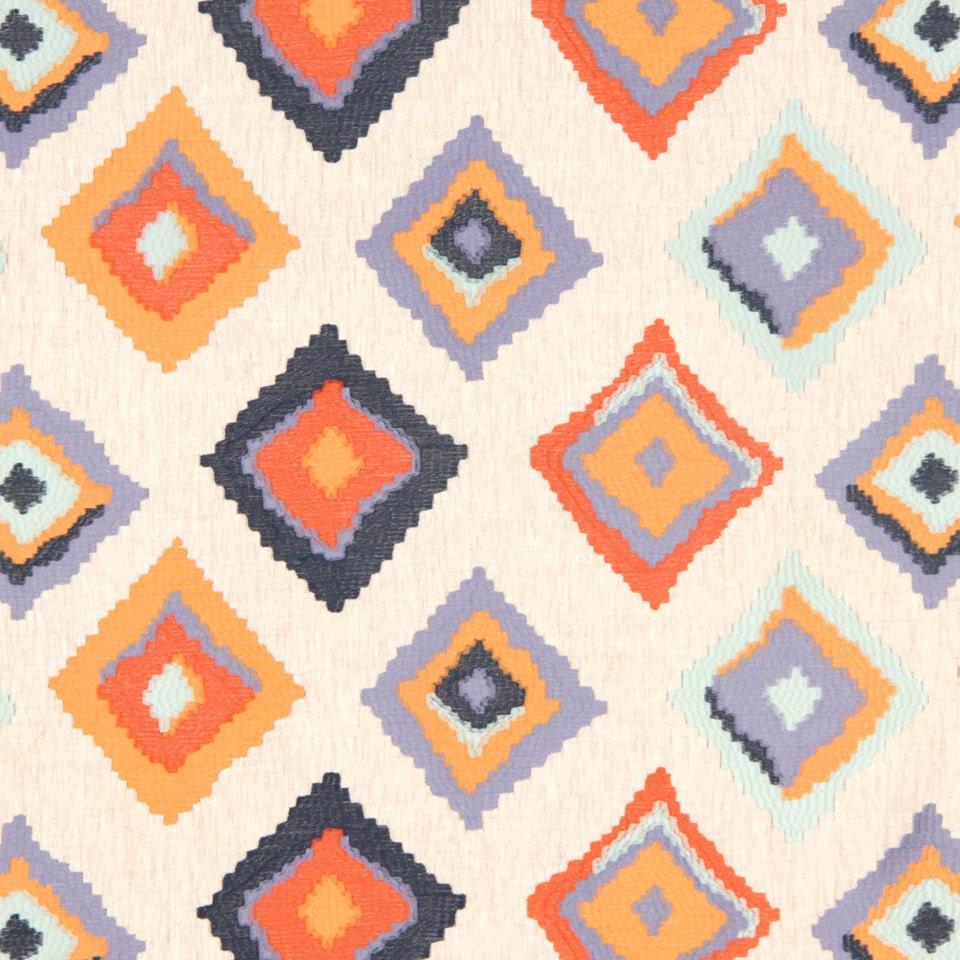 orange navy blue embroidered geometric linen upholstery fabric. Black Bedroom Furniture Sets. Home Design Ideas