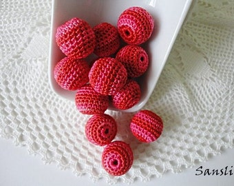 12 pcs-16 mm beads-crocheted bead-red,pink beads-round beads-crochet ball beads-beads crochet-embellishment-wooden crochet cotton yarn beads