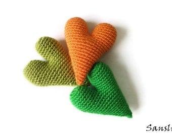 3 pcs-6 cm heart-amigurumi crochet-crocheted heart-amigurumi heart-amigurumi decoration-miniature heart-crochet decoration-unique heart