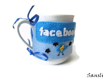 Kitchen accessory-kitchen accessory-cup cozy-coffee cozy-felt coffee cozy-felt cup cozy-facebook-gift for men-gift for womens