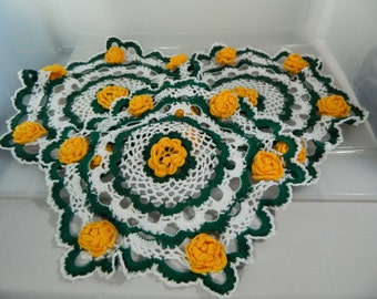 Vintage Crochet Yellow Roses Doilies, Round Doilies Hand Crochet, Cottage Decor Set/3