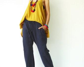 NO.68 Dark Blue Cotton Drop Crotch Pants, Slant Pockets Trendy Trousers