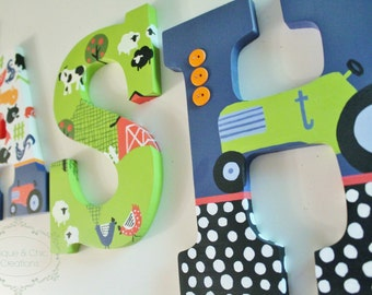 Farm Animal themed Personalized Wooden Letters for Nursery or Bedroom